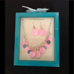 Jewelry - New Summer Necklace Earring Set Pink